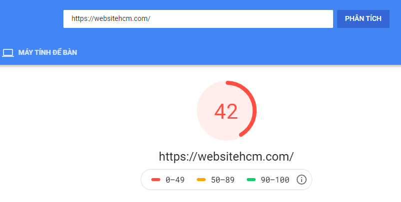 kết quả khi kiểm tra tốc độ trang web
