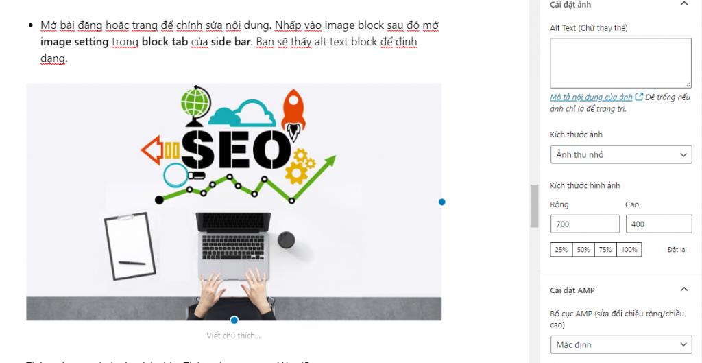 SEO image với alt text và title text
