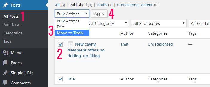Cách xóa một bài viết trên website