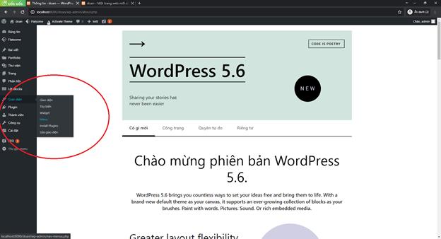 Hướng dẫn tạo menu wordpress