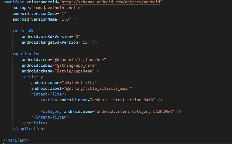 Tệp AndroidManifest.xml trong android